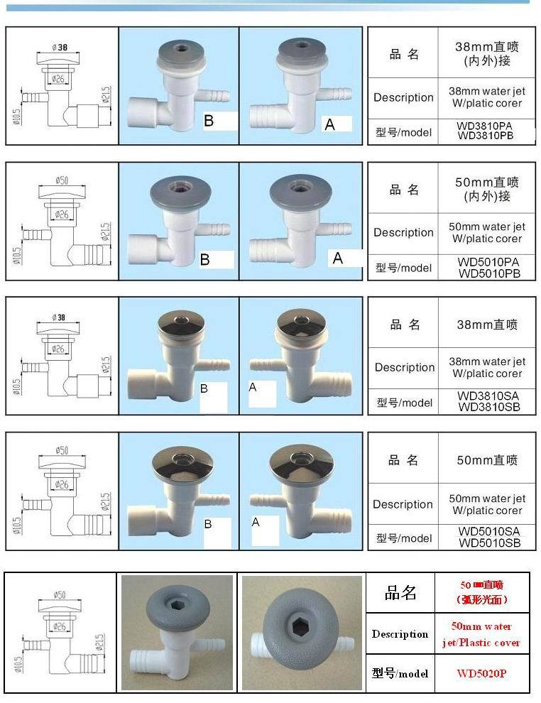 china spa bathtub 1inch water jet plastic and s.s hot tub air nozzles,bubble jets(China (Mainland))