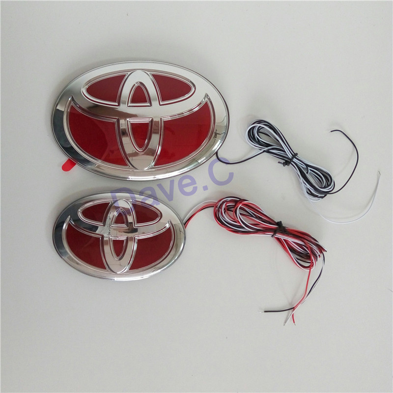 2 pc/set 14-15 Toyota Camry Car ABS Led Light Front Grille Rear Emblem Red Chrome Sitcker Badge New Styling Logo