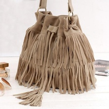 Womens Hot Popular Faux Suede Fringe Tassel Shoulder Bag Handbags Messenger Bag