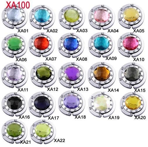 Fashion Folding Triangle Section Metal Acrylic Diamond-set Handbag Hand Bag Hook Holder Hanger Mix Colors 100pcs/lot(China (Mainland))