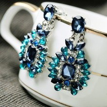 Top Quality Texture Sapphire Blue Color Big Drop Earring Vintage Party Glass Crystal Earrings for Women  Best Gift(China (Mainland))