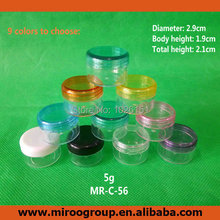 Free Shipping 200pcs/lot 5g clear plastic cream jar with colorful lids, 5g plastic eye shadow jars