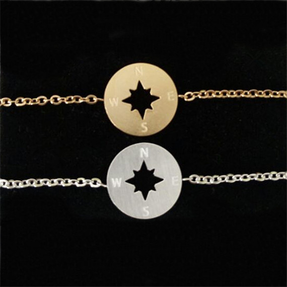 Wholesale 30Pcs/lot Stainless Steel Compass Bracelet Rose Gold Silver Silver Round Bracelets Women And Men Jewlery(China (Mainland))