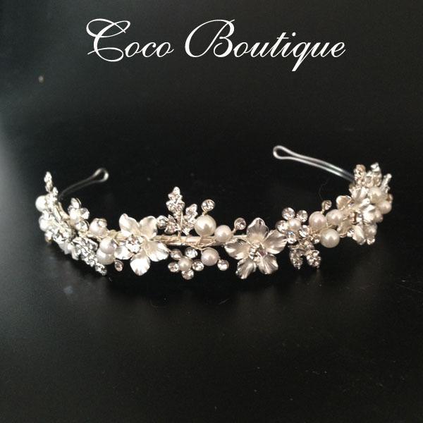 Silver Floral Crystal Wedding Headband Crown Vintage Bridal Headpiece(China (Mainland))