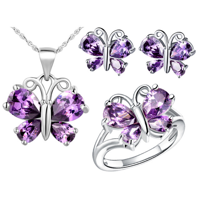 NCS019 18K Gold Plated Crystal Jewelry Sets With Box Rhinestone Butterfly Christmas Gift Free Shipping Wholesale Items<br><br>Aliexpress
