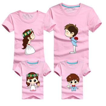 1 pc Wedding Rose Red Cartoon Family Shirts Man T Shirt 60% Cotton Big Size Large Size XL Summer Short Sleeves Couples T-Shirts
