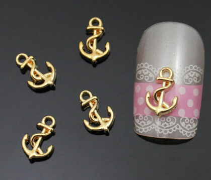 New 3D Beauty Alloy Boat anchor Nail Art Sticker Rhinestones Nail Art Glitter Decals For DIY Nial Manicure Jewelry Nail Art Tips(China (Mainland))