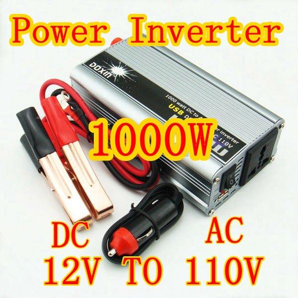 2PCS/LOT 1000W Auto Truck Boat Power Inverter 12V DC to 110V AC USB(China (Mainland))
