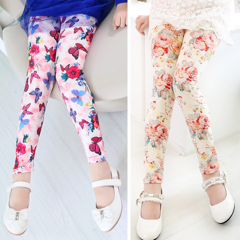 New arrive girl pants printing Flower girls leggings Toddler Classic Leggings 2 13Ybaby girls leggings kids