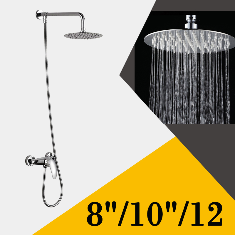 "Фотография Polished Chrome Cheapest 8""10""/12""Ultrathin Rainfall Shower Faucet Single Handle In-wall Shower Mixer Taps"