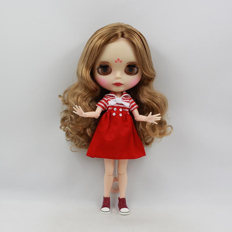 Фотография Wholesale Nude Blyth doll diy Brown bangs long wig 12 fashion dolls diy toys bjd doll joint body from blyth factory