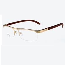 6242e7e8985 Vazrobe Custom-make Gold Wood Glasses Frame Men Wooden Temple+alloy Rim  Prescription Spectacles