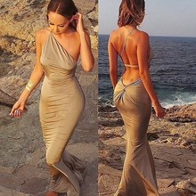 Slim Party Dress 2015 New Sexy One-Shoulder Skinny Floor-Length Backless Beach Dress 4 Color Size S-L,Drop Shipping,WQJ058(China (Mainland))