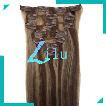 "TOP QUALITY 20""Clip in 7pcs Hair Extension #4/27 medium brown/dark blonde,70g/set"