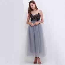 Fête Train mode femmes dentelle princesse fée 4 couches 100 cm Voile Tulle jupe Bouffant Bouffant Bouffant mode jupe longue Tutu jupes(China)