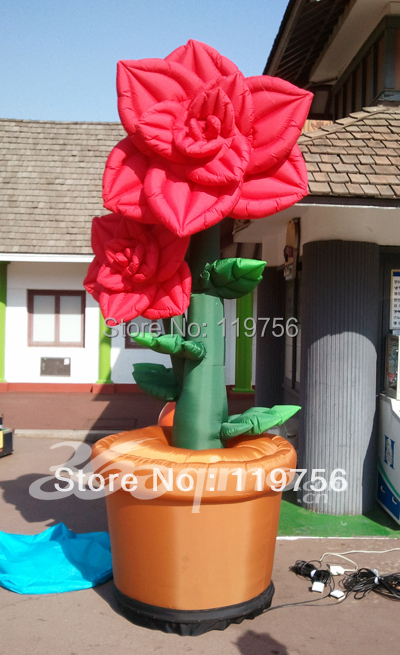 3mH vivid inflatable advertising potting flower with blower(China (Mainland))