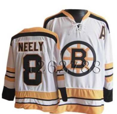 Top Stitched Customized Men's Ice Hockey Jersey Boston Bruins #8 Cam Neely White Throwback Jersey ,Accept Drop Shipping(China (Mainland))
