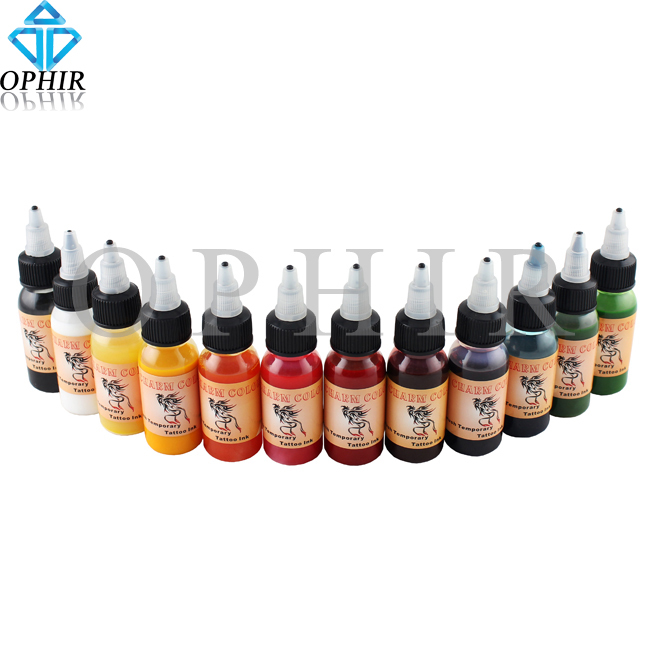 OPHIR 12 Color x 30 ML/Bottle Airbrush Body Art Paint for Temporary Tattoo Inks Pigment _TA053(1-12)(China (Mainland))