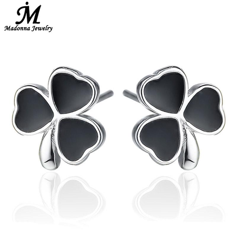 Fashion Women Lucky Clover Heart Shaped silver plated Stud Earrings Silver Ear Jewelry Balck Glue Design wholesale(China (Mainland))