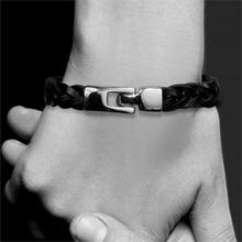 2015 New Leather Bracelet Handmade Braid Man Charm Bracelets Black Blown Colors Men Jewelry Summer Style