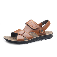 FREE shipping 2013 male slippers leather sandals male sandals male hole shoes(China (Mainland))