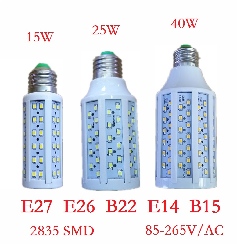 Led lamp 15W 25W 40W Lampada E27 E26 E14 B22 smd 2835 LED Corn Bulb Tubes 85-265V Pendant Lighting Chandelier Ceiling Spot light(China (Mainland))