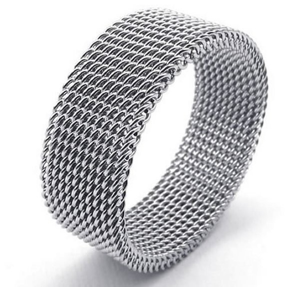 2015 fashion8mm Flexible Stainless Steel Screen Mens Womens Ring, Woven Mesh Band, Silver(China (Mainland))