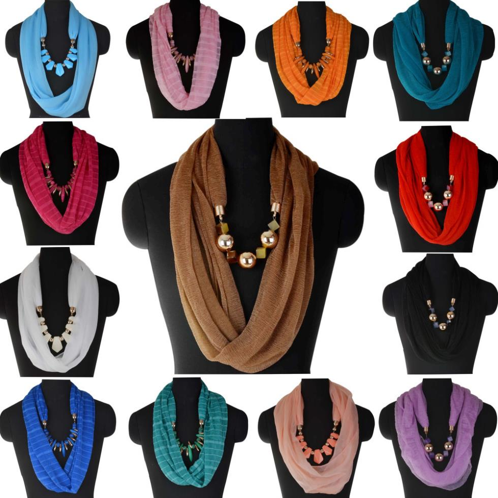 Fashion Necklace For Women 2015 Charms Stole Collier Necklace Pendant Scarf Shawl Wrap Jewelry Necklace Women