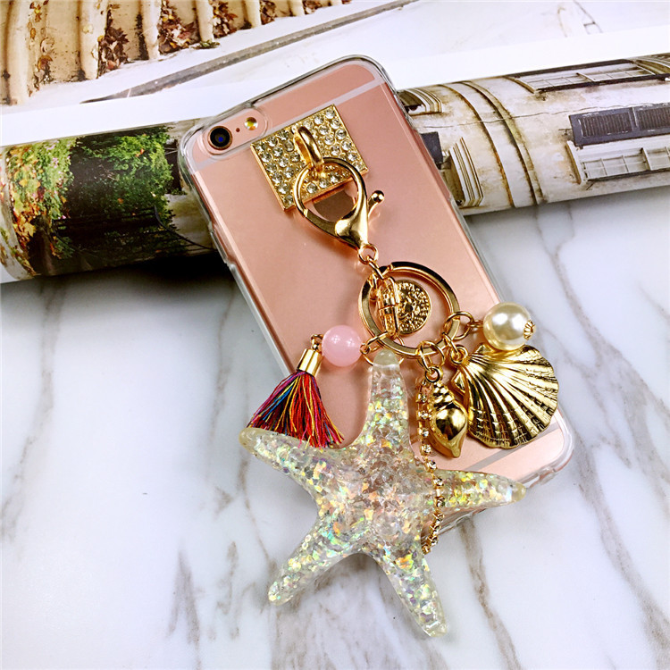 """HOT NEW Luxury Crystal Diamond Ring 3D Starfish Tassels Bling Soft Mobile Phone Case Cover For iPhone 6S 6 Plus 5.5"""" 4.7''(China (Mainland))"""