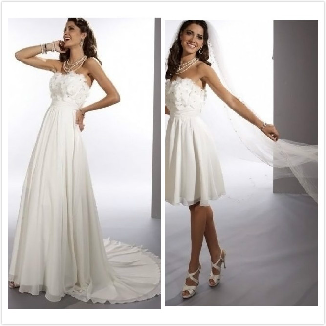 sheath 2 in 1 wedding dress with convertible skirt in wedding dresses