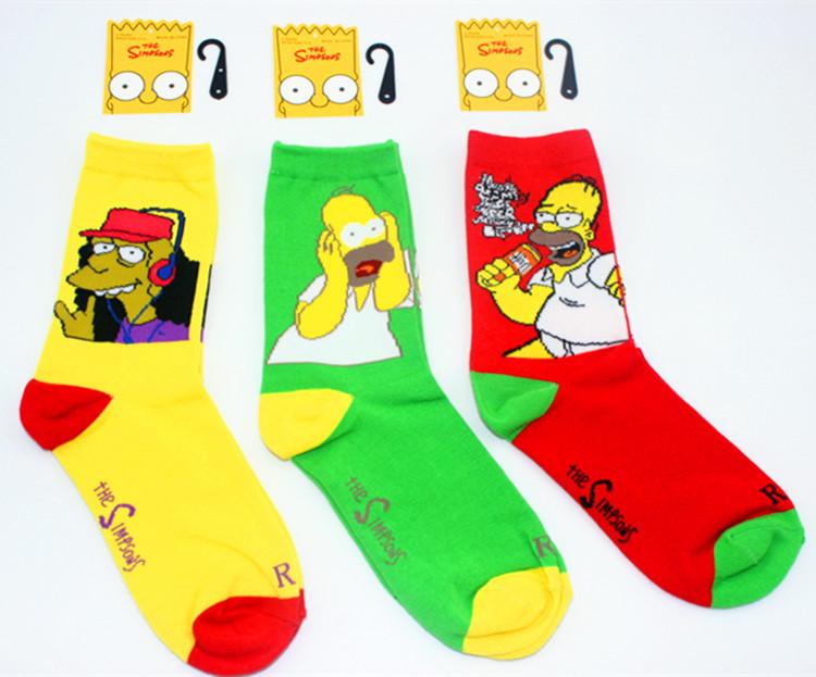 Simpsons family male half invisible socks Cotton Graffiti Styles Socks harajuku summer style weed happy socks