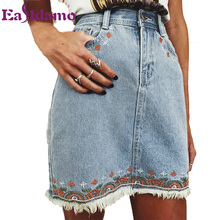 Buy Eastdamo Embroidery Flower Print Denim Skirts Women Slim Casual Blue White 2017 Summer High Waist Women Mini Skirt Bbottoms for $17.89 in AliExpress store