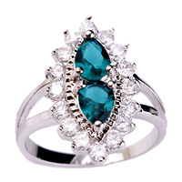 New Fashion Retro Baroque Style Rings Green Topaz 925 Silver Ring Size 6 7 8 9