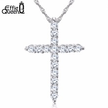 DALI Hot Sale Cross Pendant Necklace with Luxury Austria Crystal Zircon 3 Layer Platinum Plated Allergy Free Women Necklace WN56(China (Mainland))