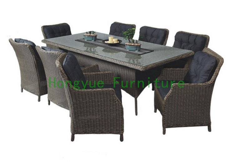 rattan dining room sets with cushion and tempered glass in rattan