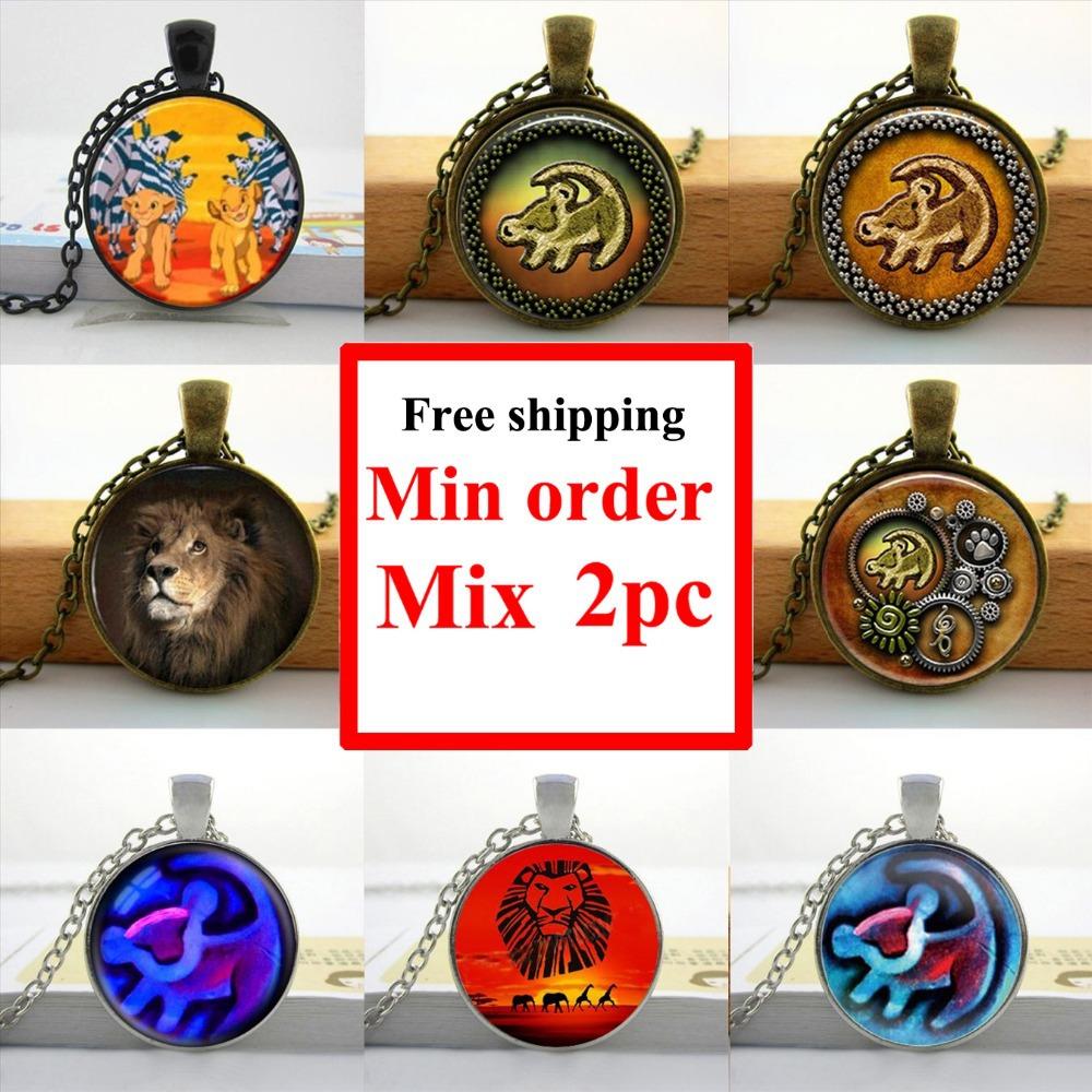 Wholesale Lion King Necklace Lion head Pendant Lion King Simba jewelry Glass Picture Pendant(China (Mainland))