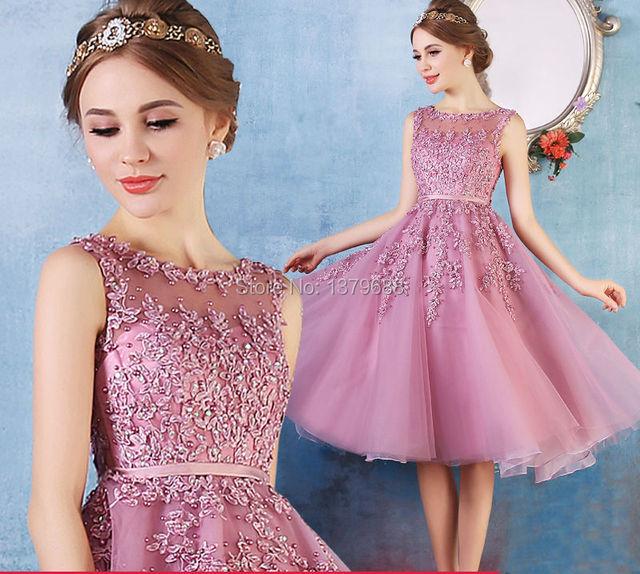 2016 Новое прибытие коктейльные платья, короткие платья аппликации платье A-Line ...