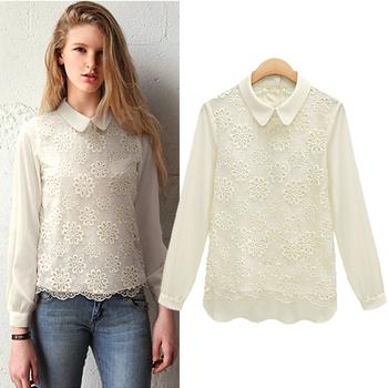 2014 New fashion women Spring summer organza lace plus size turn down collar Short sleeve Chiffon casual t shirt female Vestidos