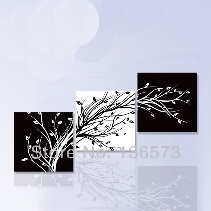 hand painted 3 piece art sets black white flower tree wall. Black Bedroom Furniture Sets. Home Design Ideas