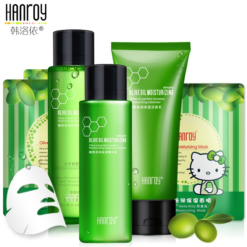 HANROY Skin Care Set Moisturizing Skin Care Cosmetic Sets Facial Cream Face Care Olive Essence 4 ...