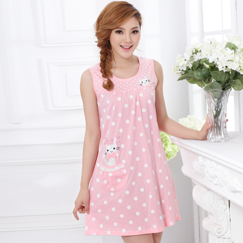 2016 Plus Size Sleepwear Summer Nightgown Women's Cute ...