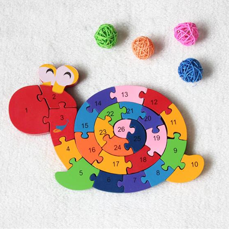 Early education supplies alphanumeric cognitive wooden Blocks snails children's toys intellectual gifts(China (Mainland))