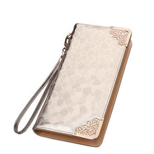 Fashion Luxury Elegant Women Wallets Purses Zipper Long Wallets Ladies Designer Clutch Purses Card Holders Golden Silver M597