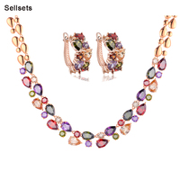 Free shipping  high quality  jewelry set gold plated multicolor cubic zirconia diamond christmas gifts for women