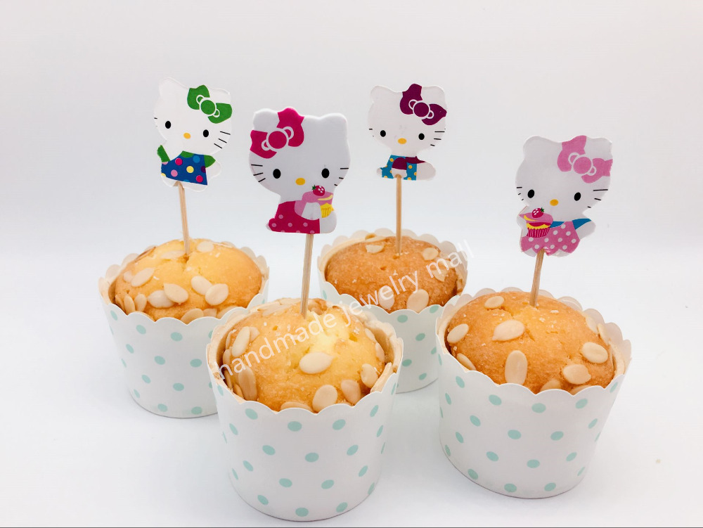 24pcs/lot hello kitty Cupcake Topper for baby shower girl birthday party decoration cupcake decoration party favor(China (Mainland))