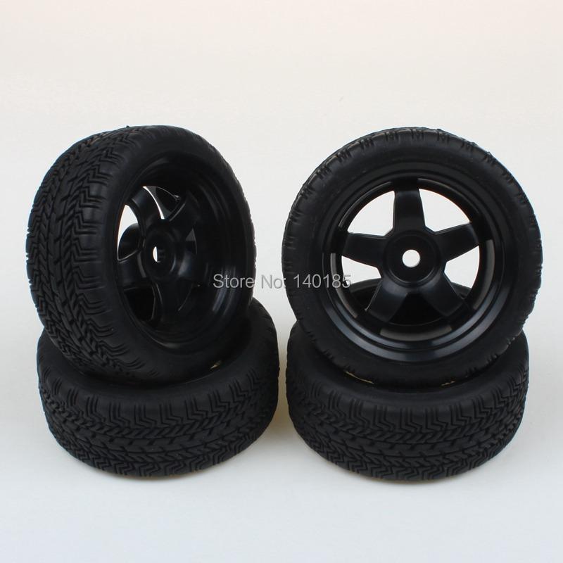 New Lot 4 pcs RC Tires & 5 Spoke Wheel Rim Fit for HSP HPI 1:10 On Road Car(China (Mainland))