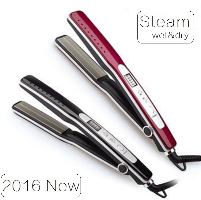 Professional Steam hair straightener fast flat iron electric smoothing straightening Ceramic titanium plate Wet&dry(China (Mainland))