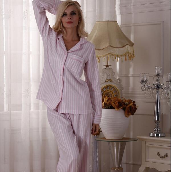 100% super soft cotton pink stripe long sleeve length pants lounge sleep set pajama with pocket(China (Mainland))