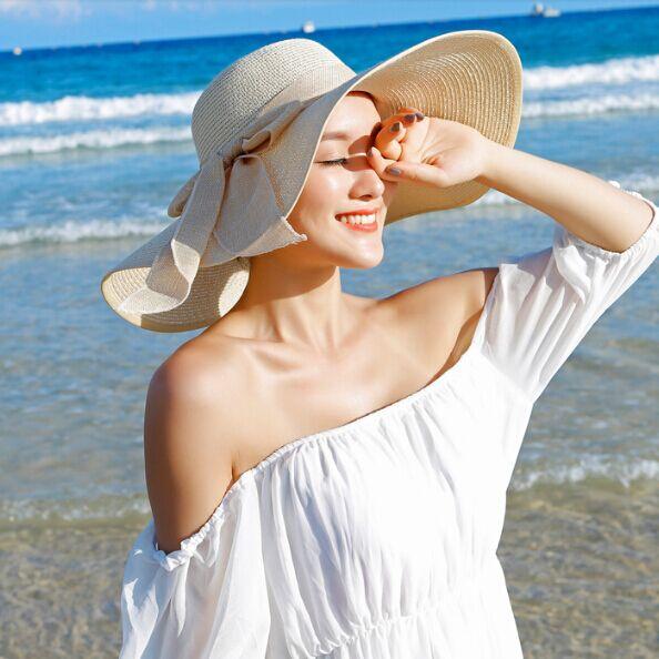 HOT Style summer large brim straw hat adult women girls fashion sun hat uv protect big bow summer beach hat(China (Mainland))