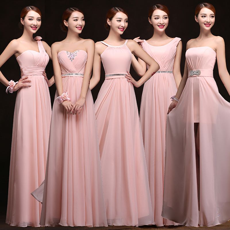 2015 cheap chiffon long plus size blush pink bridesmaid for Cheap plus size wedding dresses under 50